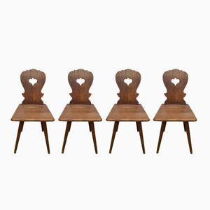 French Oak Chairs, 1970s, Set of 4
