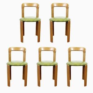 Sillas de comedor vintage con asientos de cuero verde de Bruno Rey para Dietiker. Juego de 5