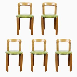Vintage Dining Chairs with Green Leather Seats by Bruno Rey for Dietiker, Set of 5