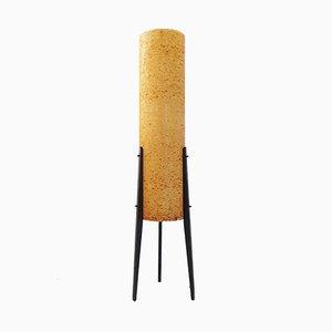 Lámpara de pie cohete alemana de resina y madera, años 70