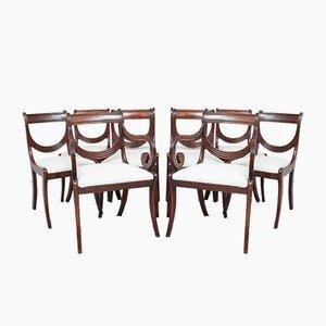 Sedie da pranzo in mogano, inizio XIX secolo, set di 10