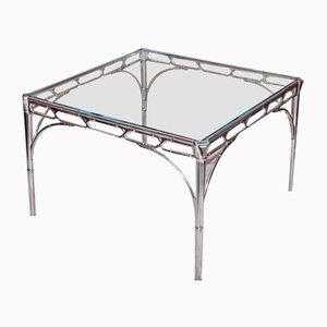 Mesa auxiliar de vidrio y aluminio en forma de bambú, años 50