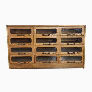 Kurzwarenregal aus Eichenholz mit 12 Schubladen, 1920er