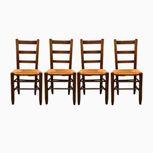 Straw Model 19 Chairs by Charlotte Perriand, 1960s, Set of 4