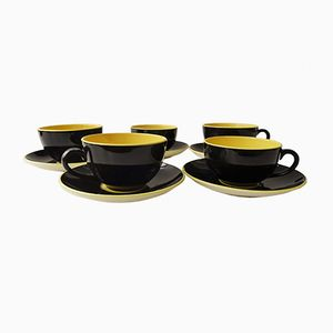 Black & Yellow Cups and Saucers from Villeroy & Boch, 1950s, Set of 5