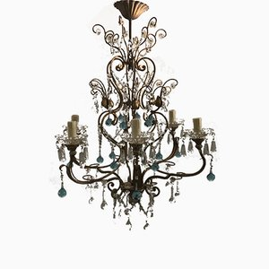 Vintage Crystal Chandelier with Murano Pendants
