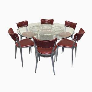 Tavolo da pranzo vintage di Warren Platner con sei sedie da pranzo BA23 di Ernest Race