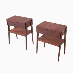Italian Mahogany Bedside Tables, 1950s, Set of 2