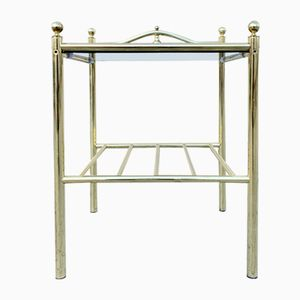 French Brass & Smoked Glass Table, 1960s
