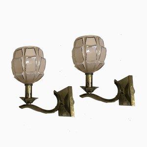 Art Deco Wandlampen aus Opalglas in Rosa, 2er Set