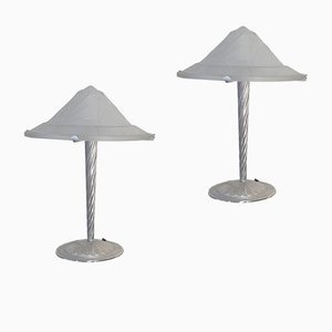 Art Deco Glass and Silver Lamps, Set of 2