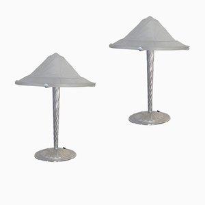 Lampade Art Déco in vetro e argento, set di 2