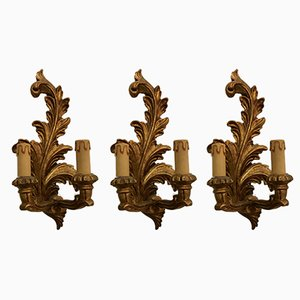 Vintage Gilded Wooden Sconces, Set of 3