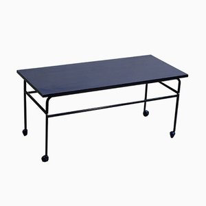 Mid-Century Swedish Enameled Blue Metal Coffee Table on Wheels, 1960s