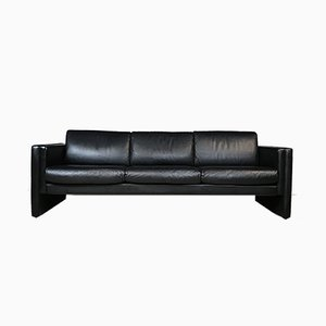 Minimalist Studio Three-Seater Leather Sofa by Jürgen Lange for Walter Knoll, 1980s
