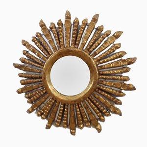 Espejo en forma de sol de madera, años 40