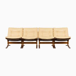 Mid-Century Siesta Chairs in Leather by Ingmar Relling for Westnofa, Set of 4