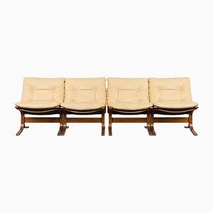 Mid-Century Siesta Ledersessel von Ingmar Relling für Westnofa, 4er Set