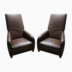 Mocca Leather Lounge Chairs by Molinari, 1990s, Set of 2
