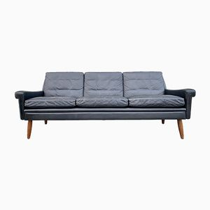 Dänisches 3-Sitzer Sofa aus schwarzem Leder von Svend Skipper, 1960er