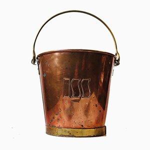 Cubitera danesa vintage de cobre y latón, años 70