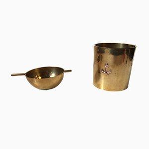 Cendrier à Cigare Cylinda en Laiton par Arne Jacobsen pour Stelton, 1960s