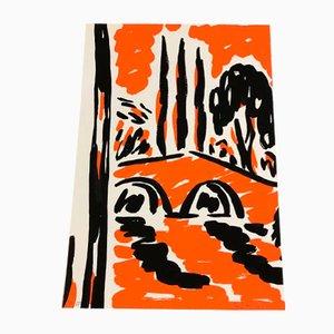 Orangener Vintage El Puente Druck von Rosa Torres