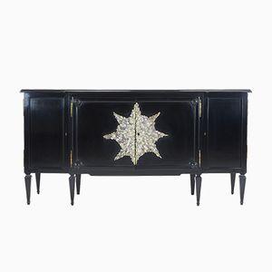 Mobiletto vintage ebanizzato con decorazione in cristallo di Enzo Missoni