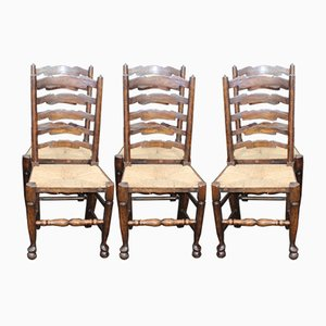 Oak Ladderback Dining Chairs, 1940s, Set of 6