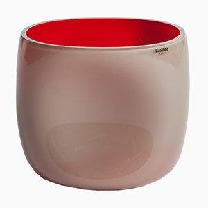 Vaso in vetro di Murano rosa e rosso di Alfredo Barbini, anni '60