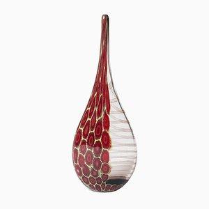 Rotgrüne Murano Vase rotgrünem Netzdesign, 1980er
