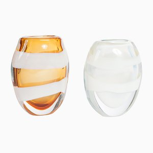 Murano Glass Pennellate Vases by Pino Signoretto, 1990s, Set of 2