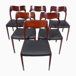Chaises de Salle à Manger Modèle 71 par Niels Otto Møller pour J.L. Møllers, Set de 6