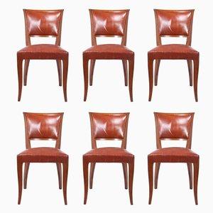 Französische Art Deco Esszimmerstühle, 1930er, 6er Set
