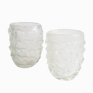 Hand-Blown Opal Murano Vases, 1970s, Set of 2