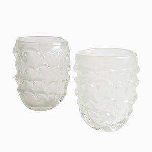 Mundgeblasene Murano Vasen aus Opalglas, 1970er, 2er Set
