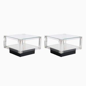 Würfelförmige Tische mit Tischplatte aus Plexiglas & schwarzem Sockel, 2er Set