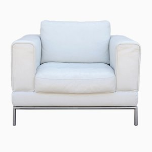 Großer Sessel aus weißem Leder, 1970er