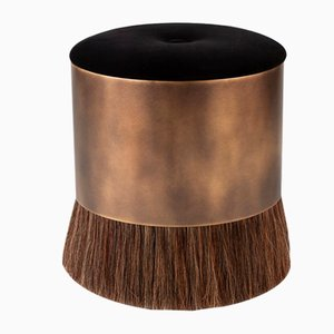 Brass, Horse Hair & Velvet Thing Stool