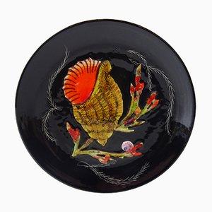Glasierter Teller mit Muschel- & Korallen-Motiv von Henriot Quimper, 1950er