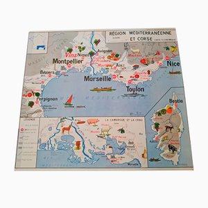 Doppelseitige Landkarte von Imprimerie Oberthur, 1964