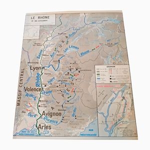 Doppelseitige Landkarte der Nutztiere in der Region Rhone von J. Anscombre für Oberthur, 1960er