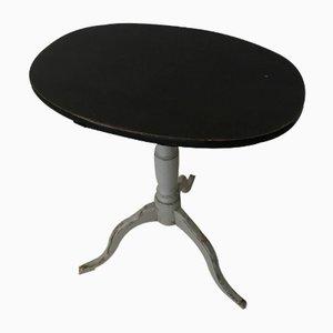 Antiker schwedischer Tisch mit schwenkbarer Tischplatte in Schwarz & Grau