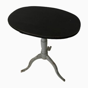 Antique Swedish Black & Grey Tilt-Top Table