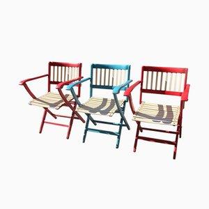Sillas de jardín plegables de colores vivos de Fratelli Reguitti, años 60. Juego de 3