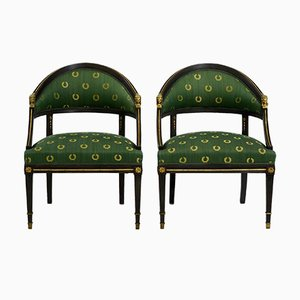 Gustavian Black Painted Armchairs, Set of 2