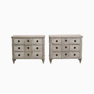 Gustavian Carved Chests, Set of 2