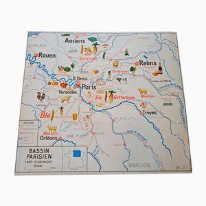 Mapa geográfico de Normandía de dos caras de Imprimerie Oberthur, 1964
