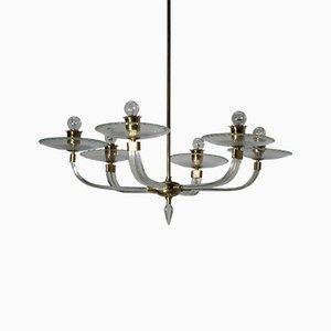 Lámpara de araña de cristal de Murano de Ercole Barovier para Barovier & Toso, años 40