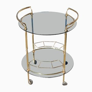 Round Italian Bar Cart in Brass and Glass, 1970s